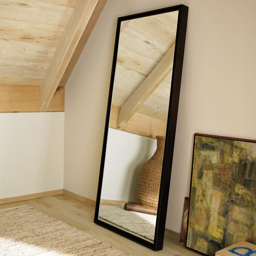 Floating Wood Floor Mirror, Chocolate