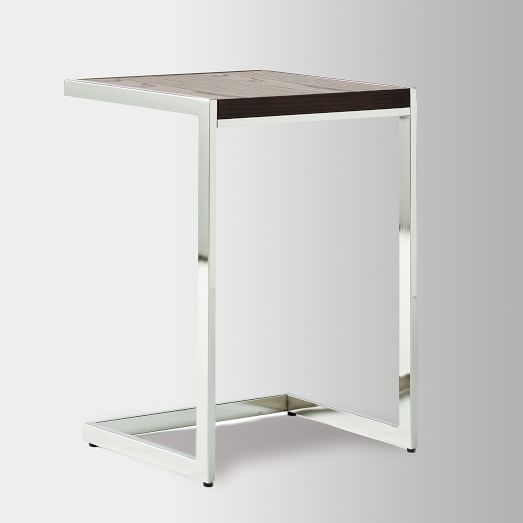 Framed Side Table, Chocolate-Stained Veneer/Polished Nickel