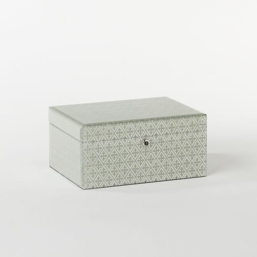 Metallic Jewelry Box, Large, Flax