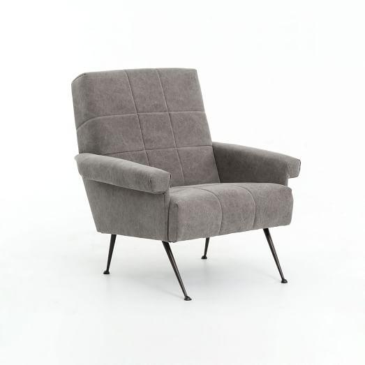 Grid-Tufted Armchair - Canvas, Gray