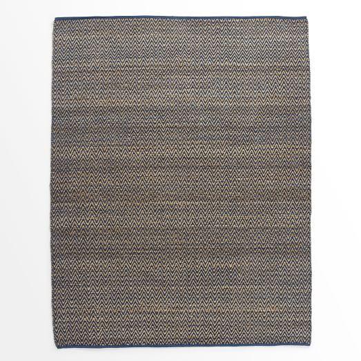 Jute Chenille Herringbone Rug, Blue Lagoon, 9'x12'