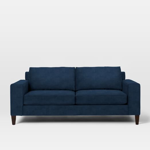"York 80.5"" Sofa, Poly Fill, Performance Velvet, Ink Blue, Cone Chocolate Legs"