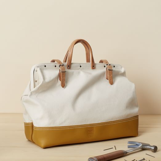 Heritage Leather, Canvas/Leather Reinforced Mason Bag