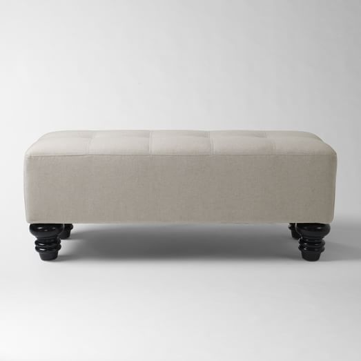 Essex Upholstered Bench, Solid Flax