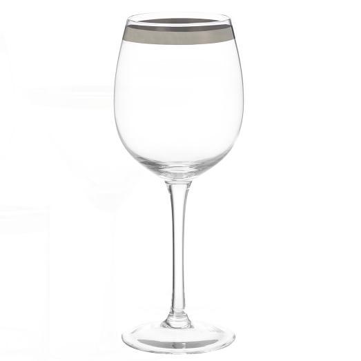 Platinum Banded Drinkware, Set of 4, Red Wine