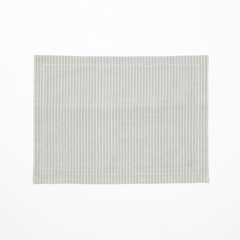 Woven Mini Stripe Placemats, Set of 2, Feather Gray