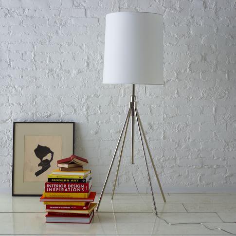 Adjustable Metal Floor Lamp, Silver/White