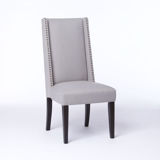 Willoughby Nailhead Dining Chair, Basketweave, Putty Gray