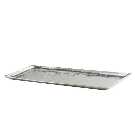 Hammered Aluminum Small Rectangular Tray, Silver