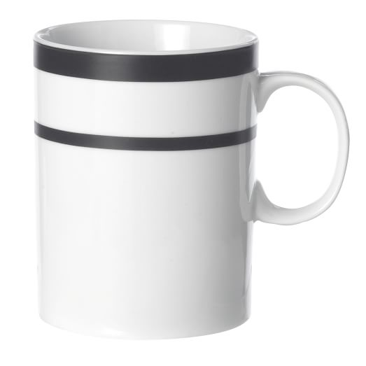 Fusion Black Dinnerware, Mug, Set of 4, Black/White