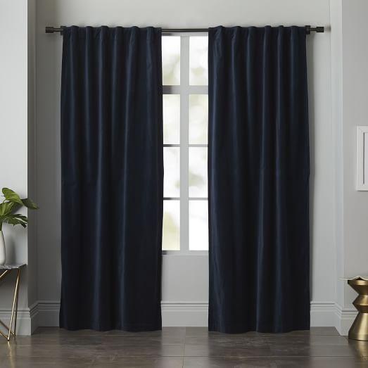 Velvet Pole Pocket Curtain, 48