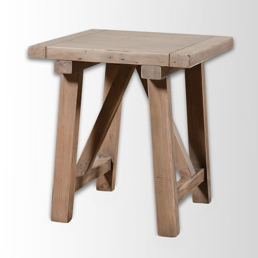 Wooden Truss Side Table