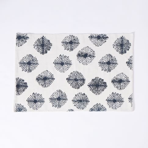 Shibori Cotton Dhurrie, 2'X3', Regal Blue