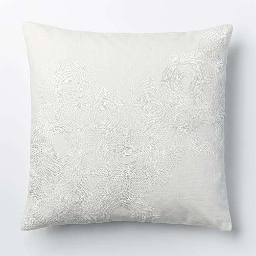 embroidered wavelet pillow cover