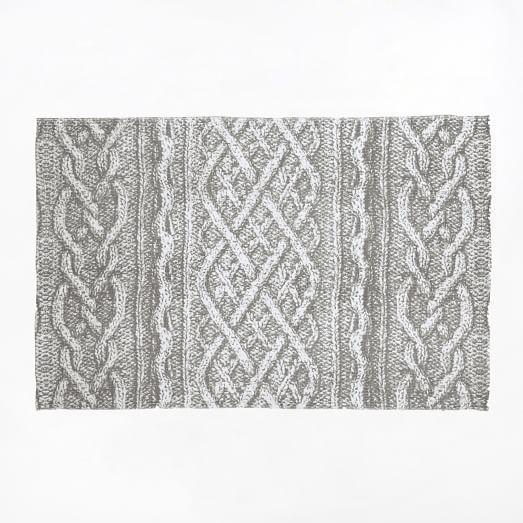 Cable Knit Printed Floor Mat, 2'x3', Frost Gray