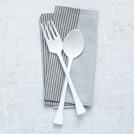 Full Enamel Flatware, 2 Piece Serve Set, White