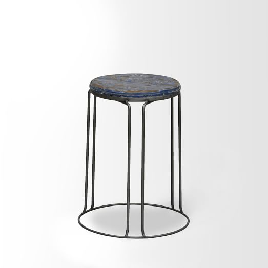 Wire Base Stool, Blue, Set of 2
