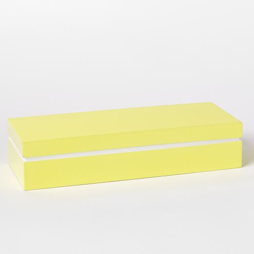 Colored Stripe Lacquer Box, Large, Yellow