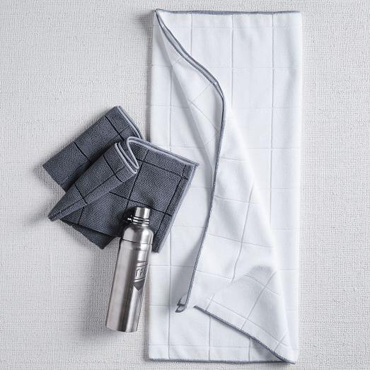 Fitness Guru Micro Fiber Bath Towel, Stone White/Dark Gray