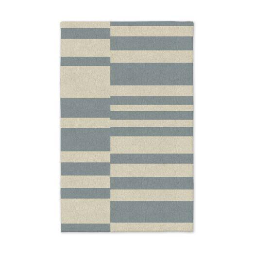 Offset Stripe Dhurrie - Blue Sage