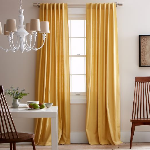 New Linen Cotton Window Panel, Pole Pocket, 63
