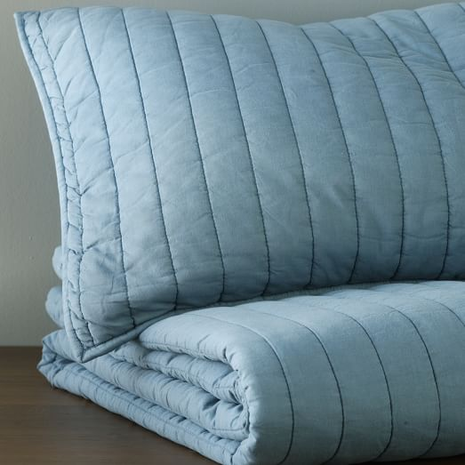 Washed Channel Stitched Quilt, Twin, Aquamarine
