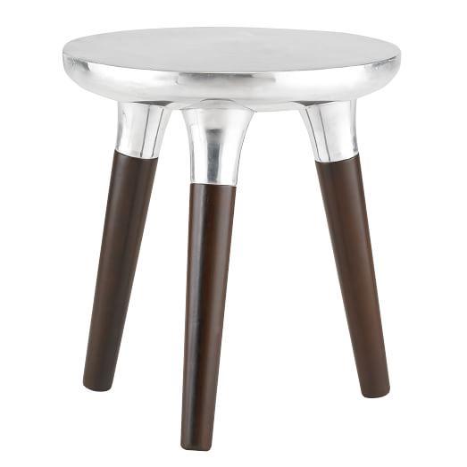 Aluminum Wood Side Table