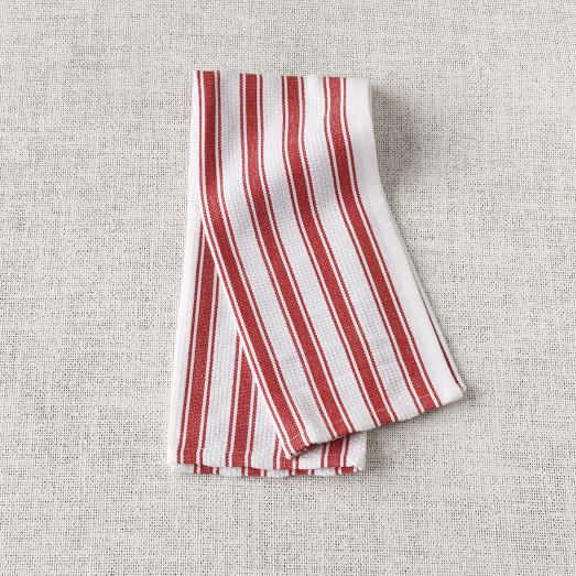 Chunky Stripe Kitchen Towel, Set of 3, Volcano/White