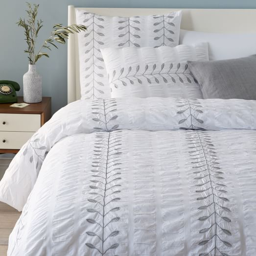 Embroidered Leaf Duvet Cover, Twin, Stone White