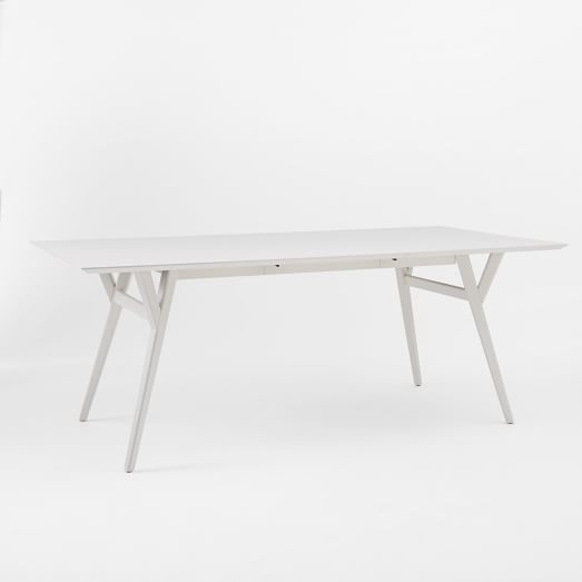 Mid-Century Expandable Dining Table, White