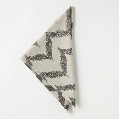 Ikat Zig Zag Printed Napkin, Slate, Set of 4