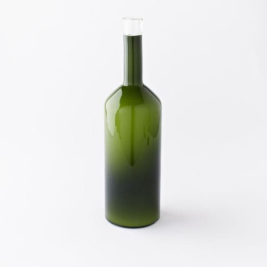 Green Glass Bottle Collection, Dark Green Opal, Extra Tall Bottle