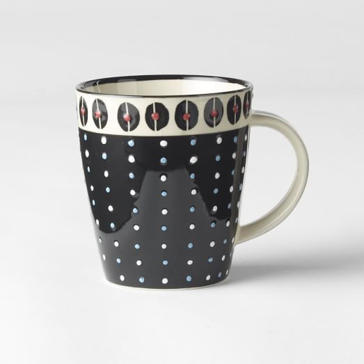 Potters Workshop Mug, Individual, Black/White/Red Dots