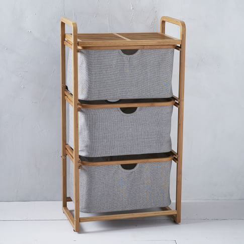 Bamboo Laundry Collection, Triple Shelving Hamper