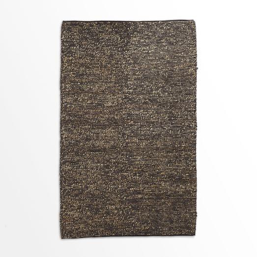 Mini Pebble Jute Wool Rug, 5'x8', Natural/Slate
