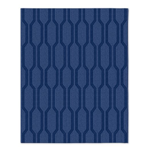 Honeycomb Textured Rug - True Blue