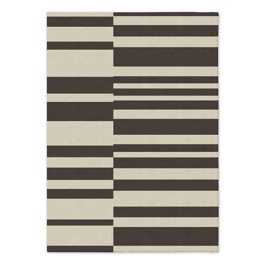 Offset Stripe Wool Dhurrie - Sable