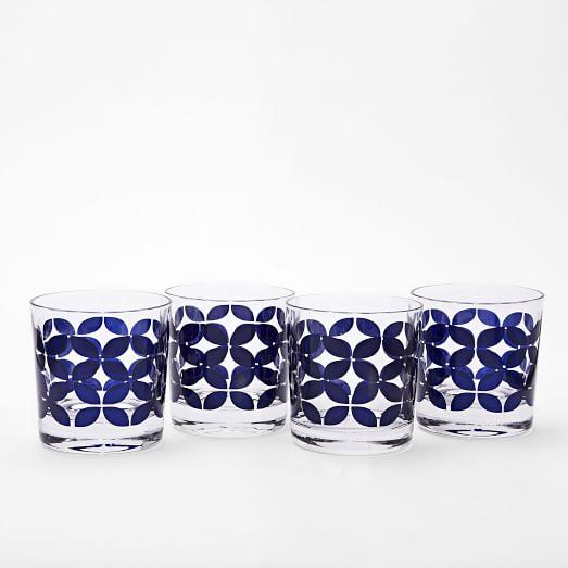 Tile Print Glassware, Set of 4, Navy Leaf