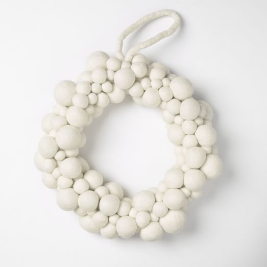 Felt Ball Wreath , White 12