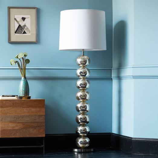 Abacus Floor Lamp, Mercury/White Linen - CFL