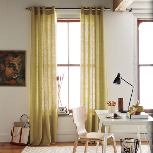 New Linen Cotton Grommet Window Panel 84