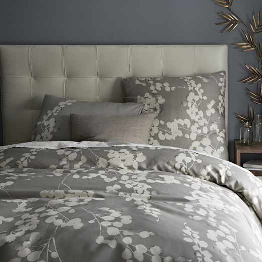 Moonflower Twin Duvet Cover Cover, Stone