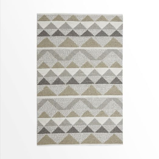 Knotted Triangle Wool Rug, 5'x8', Neutral