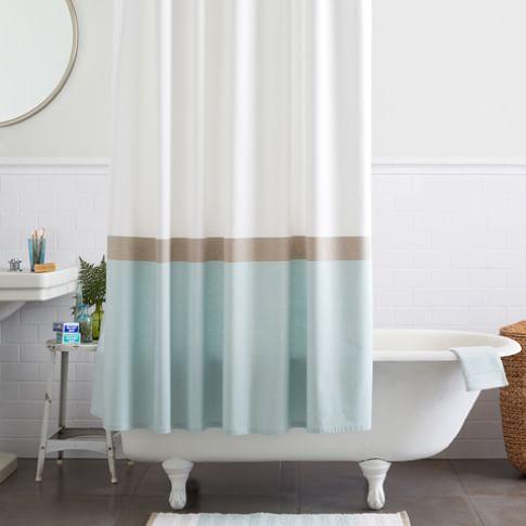 Horizon Stripe Shower Curtain, Clearwater