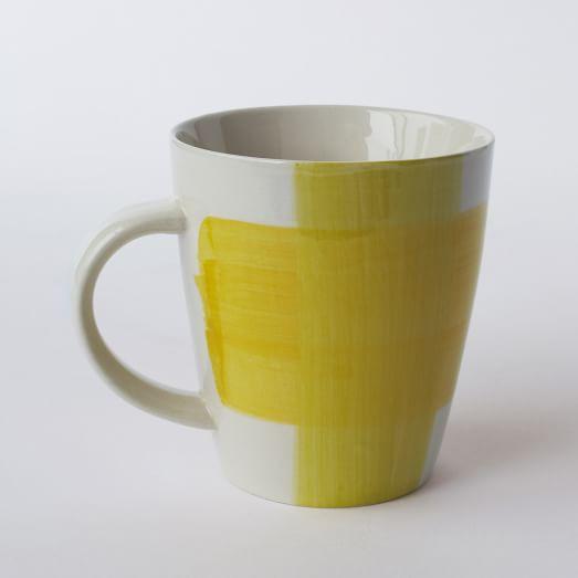 Bold Stroke Dinnerware ,Yellow/Natural, Mugs, Set of 4