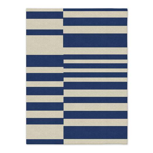 Offset Stripe Dhurrie - True Blue
