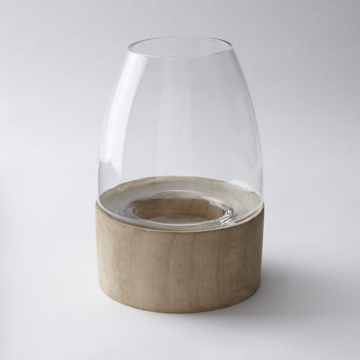 Glass Terrarium White Wood Base, Small