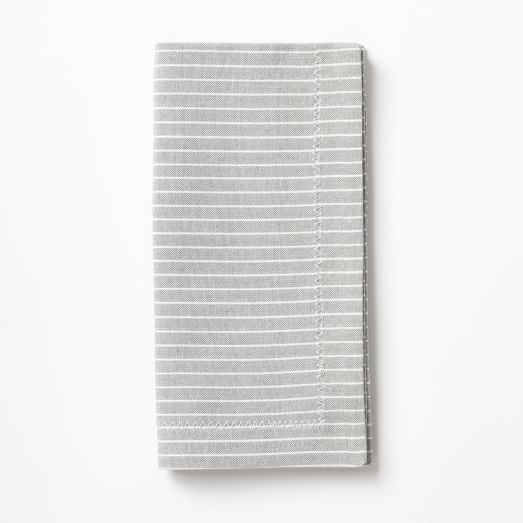 Woven Mini Stripe Napkins, Set of 4, Feather Gray