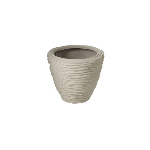 Textured Stone Planter, Short Wide, 20