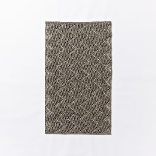 Textured Peaks Wool Rug, 3'x5', Feather Gray